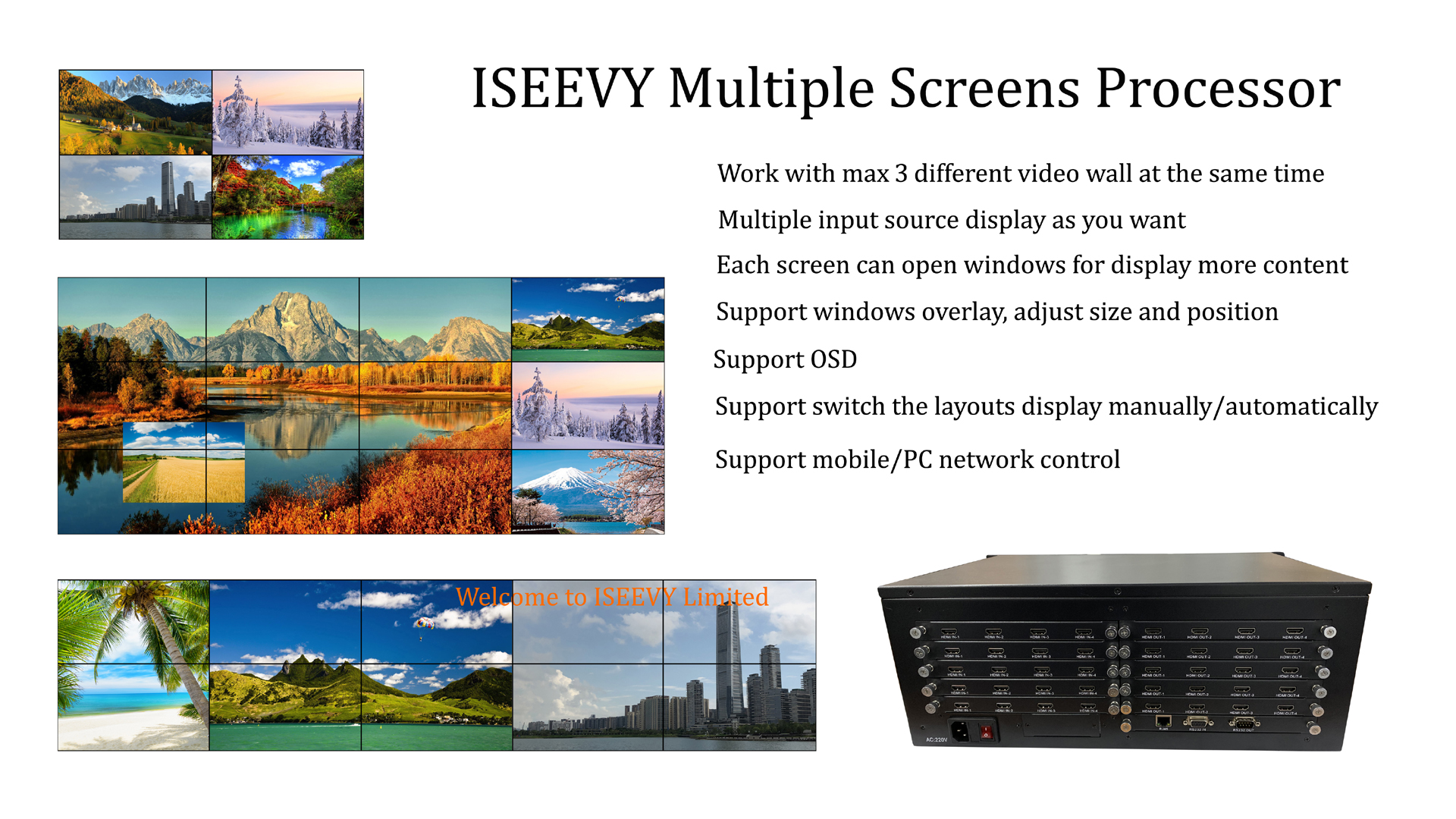 ISEEVY Multiple screens processor for multiple inputs and multiple outputs video wall display