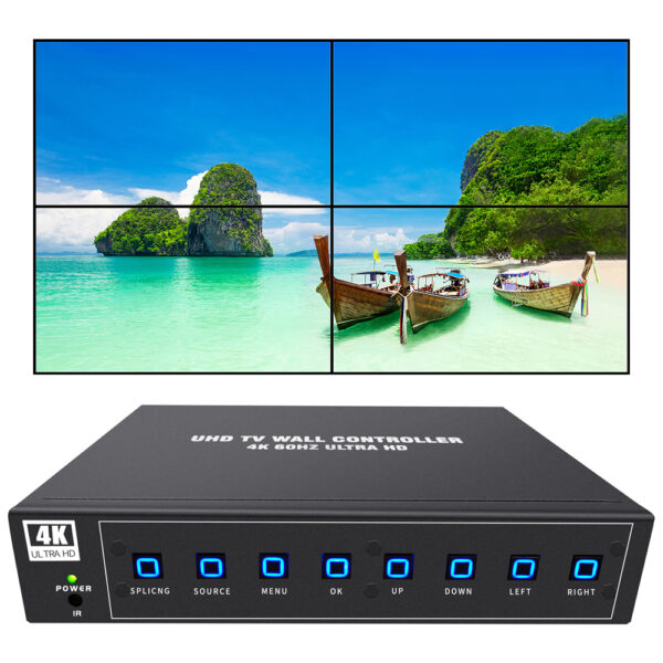 4k video wall controller 2x2 uhd tv wall controller 4k60